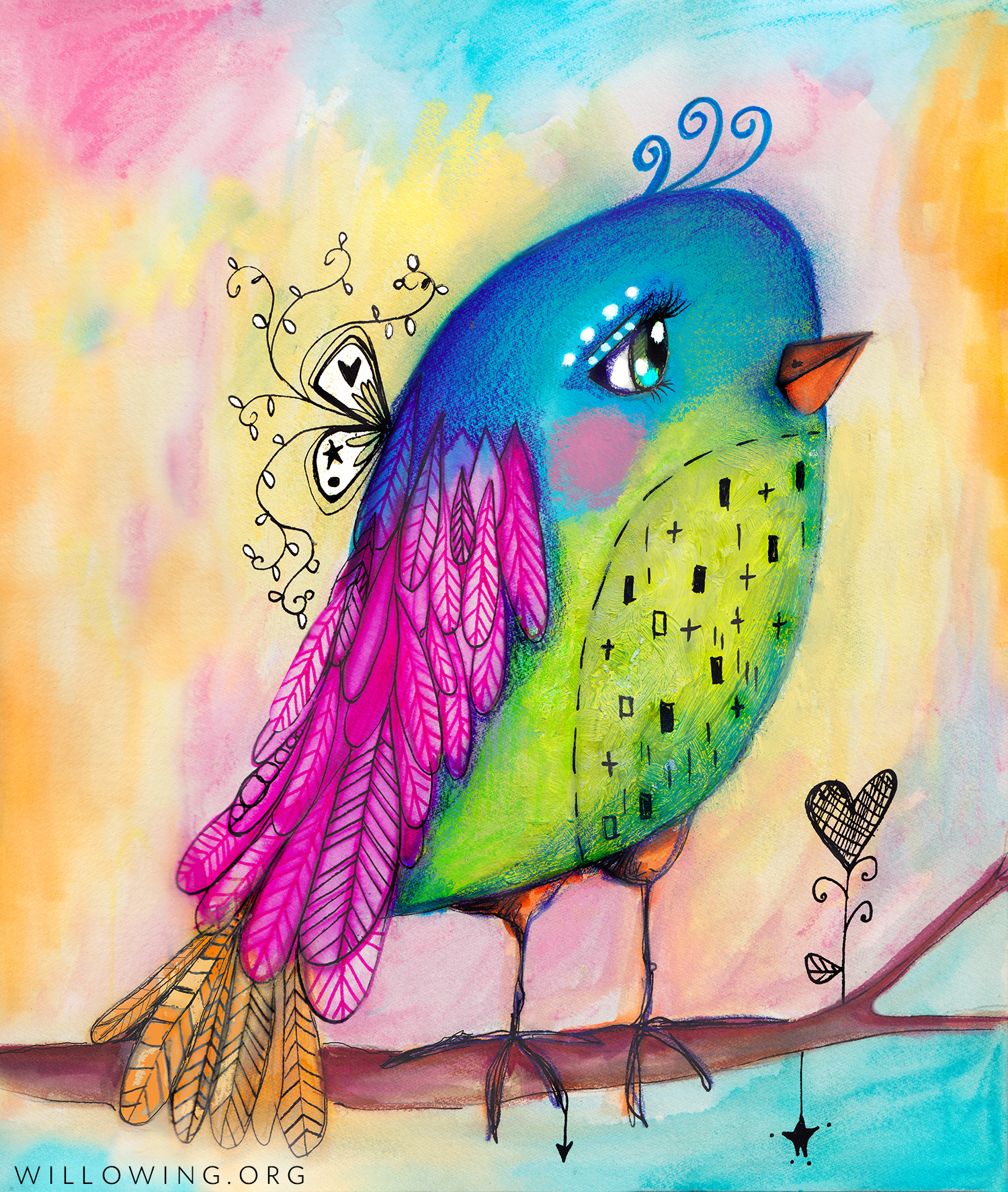 Sweet bird art print willowing arts for Laporte county phone book